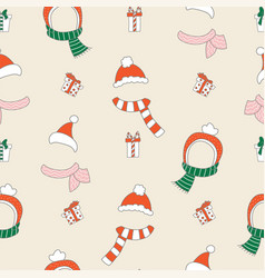 christmas hats scarfs and gifts seamless pattern vector image