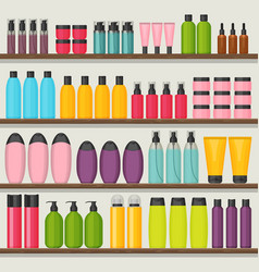 Colorful shop shelves with cosmetic bottles vector
