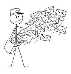 conceptual cartoon postman sending mail or vector image