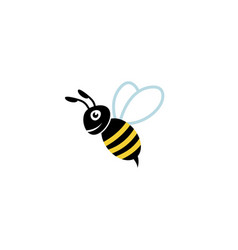 cute bee smile logo vector image