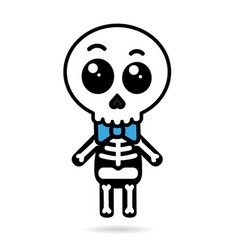 Cute kawaii boy skeleton isolated halloween vector