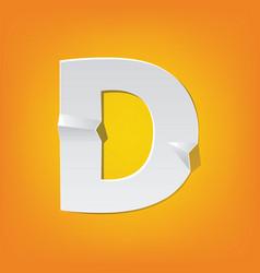 d capital letter fold english alphabet new design vector image