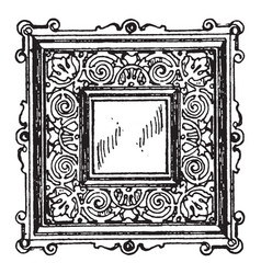 Door-panel frame was a square vintage engraving vector