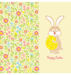 Easter bunny card with egg vector image