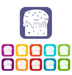 Easter cake icons set flat vector