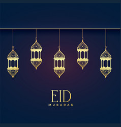 elegant hanging lanterns for eid festival vector image