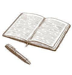 Engraving notebook vector