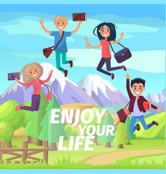 enjoy your life weekend or holiday jumping people vector image