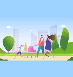 family walking city street cartoon mother father vector image