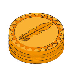 Feathercoin cryptocurrency stack icon vector