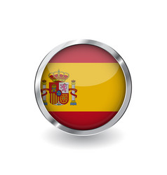 flag of spain button with metal frame and shadow vector image