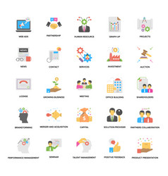 flat icons set of business and management vector image