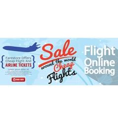 Flight Online Booking For Sale 1500x600 Banner vector image