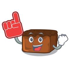 Foam finger brownies mascot cartoon style vector