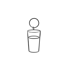 glass of juice hand drawn sketch icon vector image