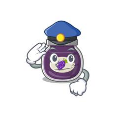 Grape jam cartoon mascot performed as a police vector