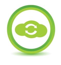 Green synchronization cloud icon vector