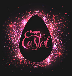 Greeting card with egg on a black background with vector