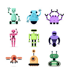 group of cartoon robots on white background vector image