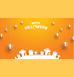 halloween background with spider and cemetery vector image