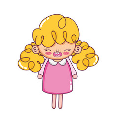 Happy girl with dress and curly hair vector