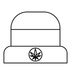Hat with sign cannabis icon outline style vector