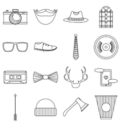 Hipster items icons set outline style vector
