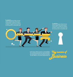 Infographic of business team holding golden key vector