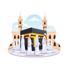 Islamic hajj pilgrimage people are walking around vector