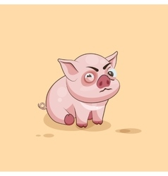 isolated Emoji character cartoon Pig squints and vector image
