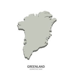 Isometric map of Greenland detailed vector