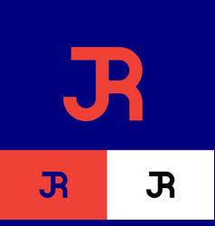j and r monogram consist orange letters vector image