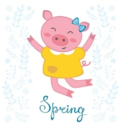 Jumping pig vector image