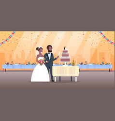 just married man woman cutting sweet cake romantic vector image