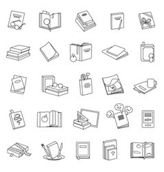 Library books line set icon vector