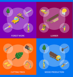 lumberman woodcutter signs 3d banner set isometric vector image