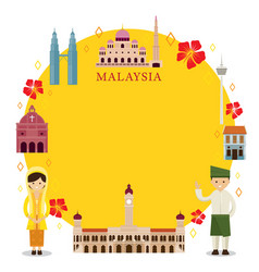 Malaysia landmarks people in traditional vector