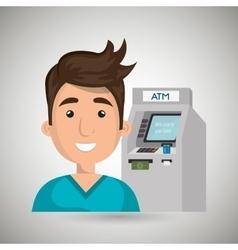 Man atm money credit vector