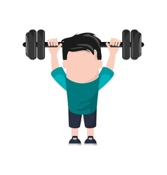Man cartoon lifting weight design vector