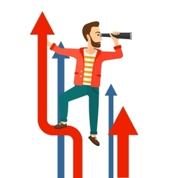 Man with spyglass on rising arrow vector image