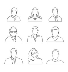 Man woman avatar outline icon set collection peop vector