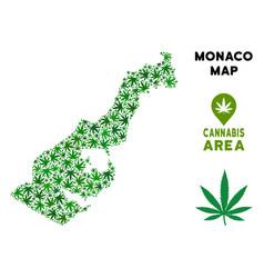 Marijuana mosaic monaco map vector