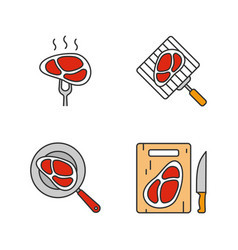 meat preparation color icons set vector image