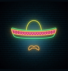 mexican in national colorful sombrero vector image