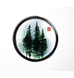 Misty pine trees in enso zen circle on white vector