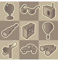 Monochrome travel icons vector image