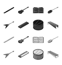 Musical instrument blackmonochrome icons in set vector
