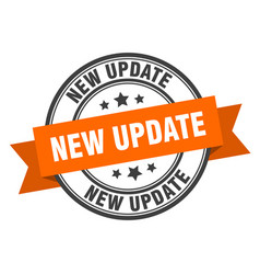 New update label new update orange band sign new vector