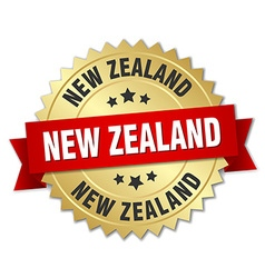 New Zealand round golden badge with red ribbon vector image