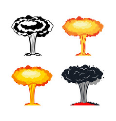 Nuclear explosion set war large red explosive vector